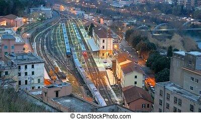 The train to Rome. Station Tivoli. Italy