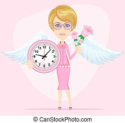 Female angel holding a pink watchs