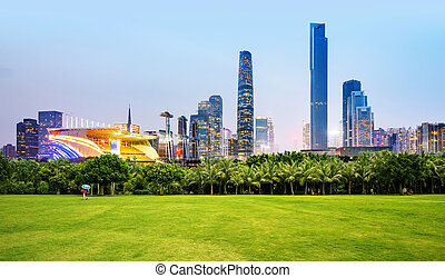 Guangzhou city night view and skyscrapers - The skyscrapers...