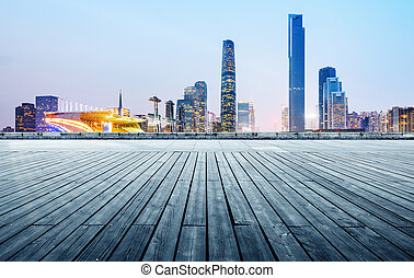 Guangzhou city night - Night view of the city in front of...