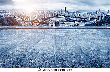 China Shenzhen City skyline - Panoramic view of skyscrapers...