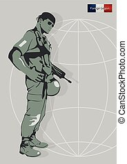 Illustration of a soldier of the Foreign Legion..eps -...