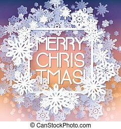 Round snow frame with Merry Christmas text.. Winter frame...
