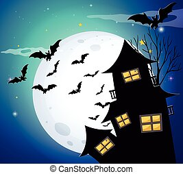 Halloween night with bats and haunted house