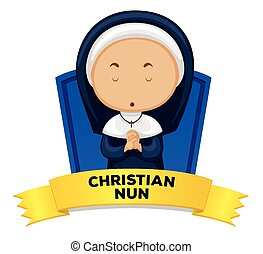 Wordcard with occupation christian nun illustration