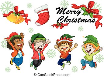Christmas card template kids dancing