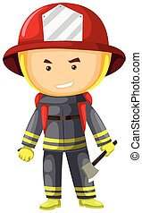 Fire fighter in protection suit  illustration