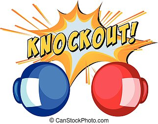 Expression knockout with two boxing gloves  illustration