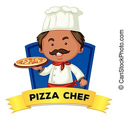 Occupation wordcard with word pizza chef