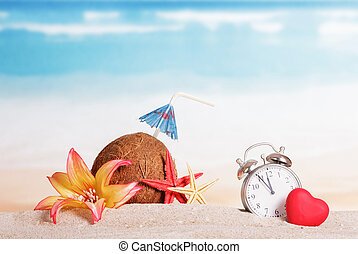 Christmas beach, coconut, clock, flower on the background of...