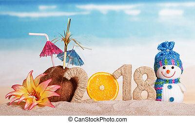 Snowman and the inscription 2018, coconut, orange, flowers...
