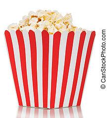 Box of popcorn isolated on white background