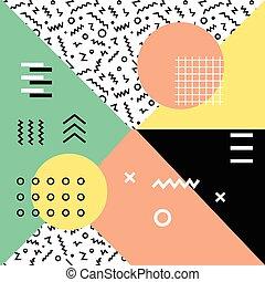 Geometric background in retro 80s-90s style. Memphis trendy...