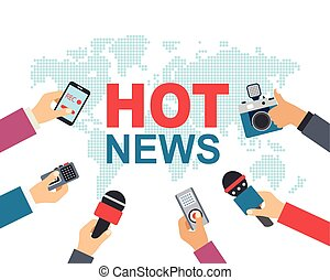 Hot news, mass media, journalism concept. Vector...