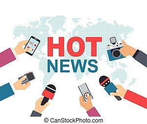 Hot news, mass media, journalism concept. Vector...