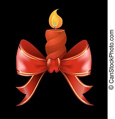 Christmas candle combined with red bow ribbon Christmas...