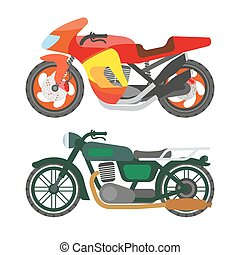 Motorcycle motorbike flat vector icons set