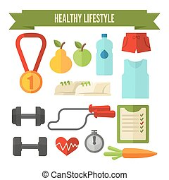 Healthy lifestyle wellness concept - Healthy lifestyle icon...