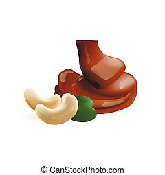 cashew with liquid chocolate