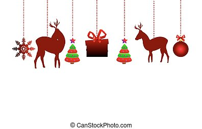 Hanging Christmas ornaments, vector art illustration for the...