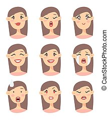 Set of emotional character. Cartoon style emoji icons. Isolated girl avatars with different facial expressions. Flat illustration women's faces. Hand drawn vector drawing emoticon