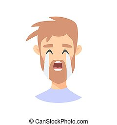 Cry Emoji character. Cartoon style emotion icons. Isolated boy avatars with sad facial expressions. Flat illustration man's emotional face. Hand drawn vector drawing emoticon