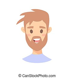 Cute Emoji character. Cartoon style emotion icons. Isolated boy avatars with nice facial expressions. Flat illustration man's emotional face. Hand drawn vector drawing emoticon