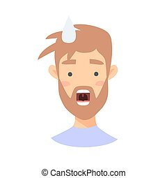 Surprised Emoji character. Cartoon style emotion icons. Isolated boy avatars with shock facial expressions. Flat illustration man's emotional face. Hand drawn vector drawing emoticon