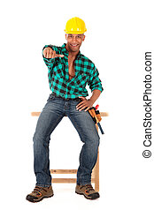 Sexy construction worker - Handsome african American young...