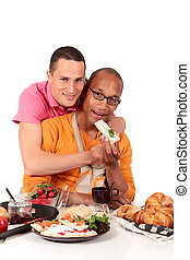 Mixed ethnicity gay couple kitchen - Attractive young mixed...