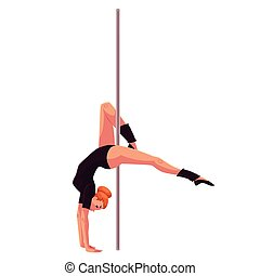 Young pole dance woman in black leotard doing hand stand,...