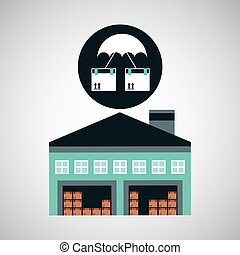 warehouse building airmail shipping vector illustration eps...