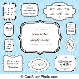 Vector Pastel Matching Frame Set - Set of vector ornate...