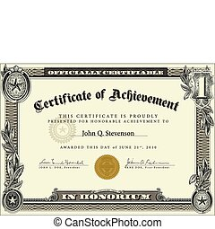 vector, funcionario, certificado, plantilla