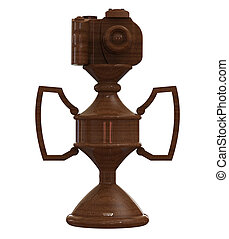 3d render of wooden mahogany DSLR camera trophy or cup...