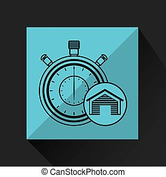 storage building service clock timer vector illustration eps...