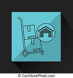 warehouse building carrying boxes hand truck icon vector...