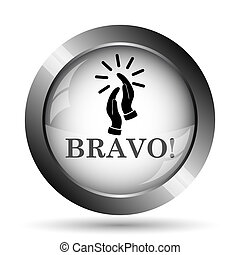 Bravo icon. Bravo website button on white background.