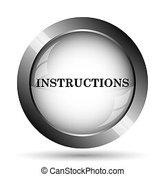 Instructions icon. Instructions website button on white...