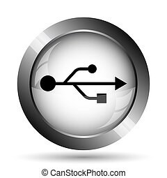 USB icon. USB website button on white background.