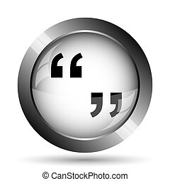 Quotation marks icon. Quotation marks website button on...