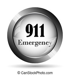 911 Emergency icon. 911 Emergency website button on white...