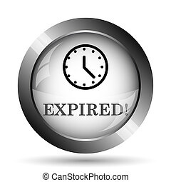 Expired icon. Expired website button on white background.