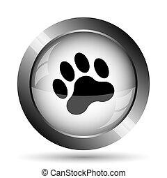 Paw print icon. Paw print website button on white...