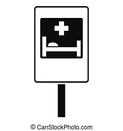 Symbol of hospital road sign icon, simple style