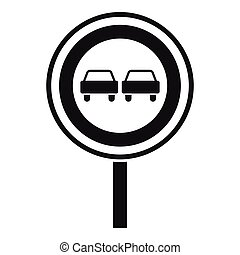 No overtaking sign icon, simple style - No overtaking sign...