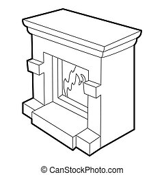 Fireplace icon, isometric 3d style - Fireplace icon....