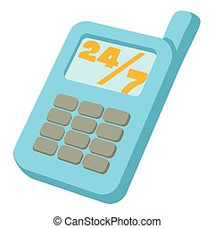 Mobile phone 24 7 service icon, cartoon style