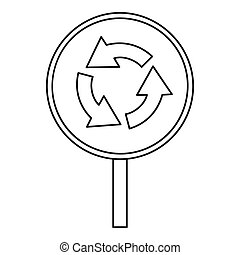 Circular motion traffic sign icon, outline style - Circular...