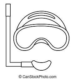 Scuba mask and snorkel icon, outline style - Scuba mask and...
